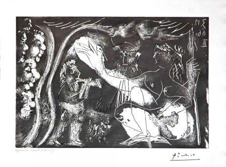 Etching Picasso - Au Theatre: Couple Avec un Flutiste et un Petit Chien