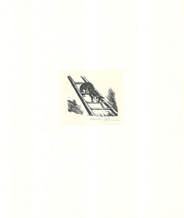 Woodcut Klemm - Auf der Leiter