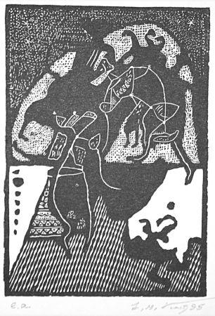 Linocut Kouliev - Aus der Serie