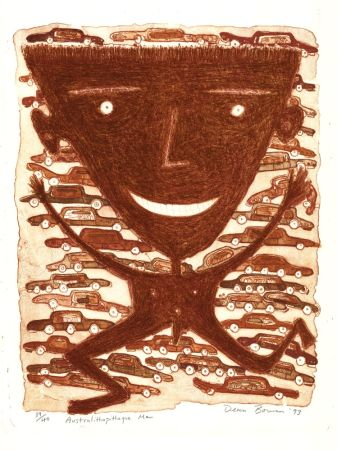 Lithograph Bowen - Australithopiteque Man