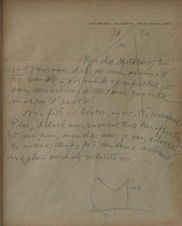 No Technical Miró - Autographed letter