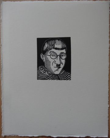 Woodcut Foujita - Autoportrait