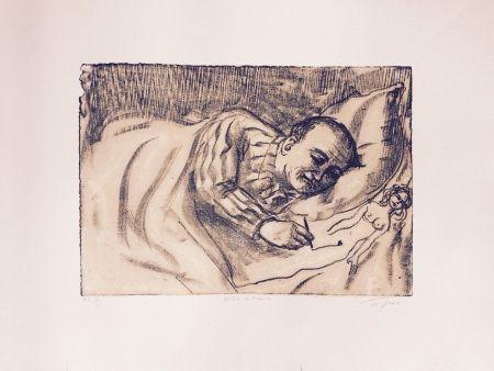 Lithograph Topor - Autoportrait
