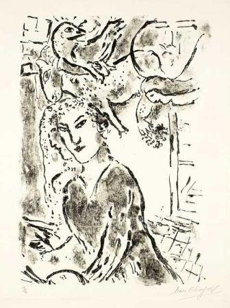 Lithograph Chagall - Autoportrait à la fenêtre
