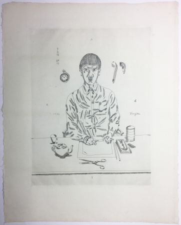 Etching Foujita - Autoportrait à la table de travail. 11:05 (1923)