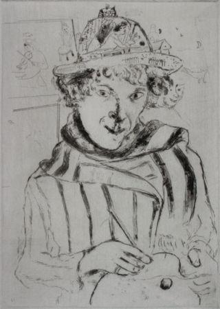 Drypoint Chagall - Autoportrait au Chapeau Orné