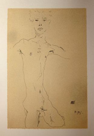 Lithograph Schiele - AUTOPORTRAIT / SELF-PORTRAIT - Lithographie / Lithograph - 1912