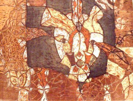 Woodcut Toledo - Autoretrato
