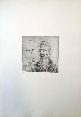 Drypoint Ligabue - Autoritratto
