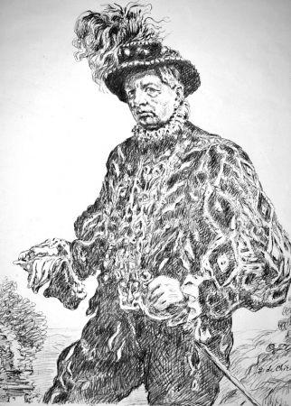 Lithograph De Chirico - Autoritratto in costume