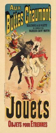 Lithograph Cheret - Aux Buttes Chaumont, Jouets