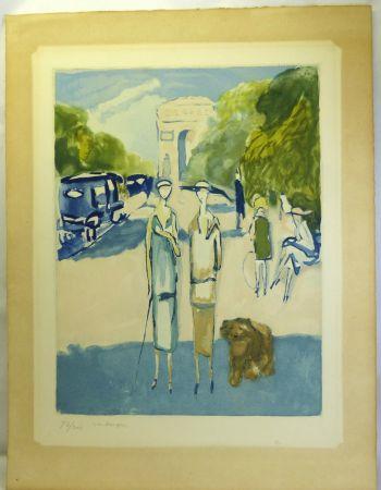 Aquatint Van Dongen - Avenue du Bois, 1928