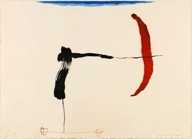 Etching Riera I Aragó - Avión negro y rojo en ángulo