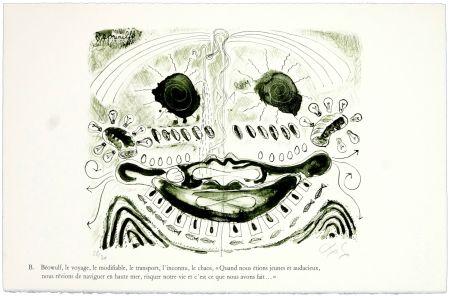 Lithograph Nørgaard - B. Béowulf, le voyage, le modifiable, le transport, l'inconnu, le chaos,