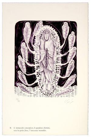 Lithograph Nørgaard - B. L'immaculée conception, la paradoxe chrétien, tous les petits Jésus, l'innocence momifiée
