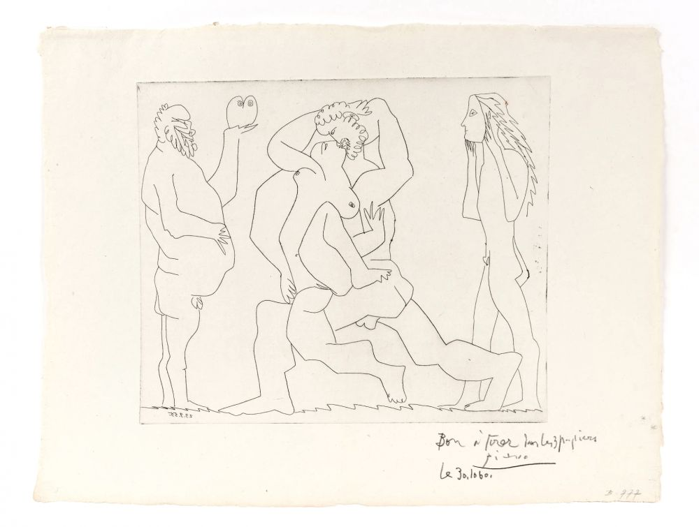 Etching Picasso - Bacchanal with Owl and Young Man in a Mask