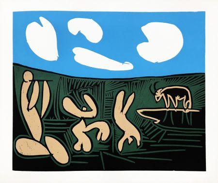 Linocut Picasso (After) - Bacchanale au taureau