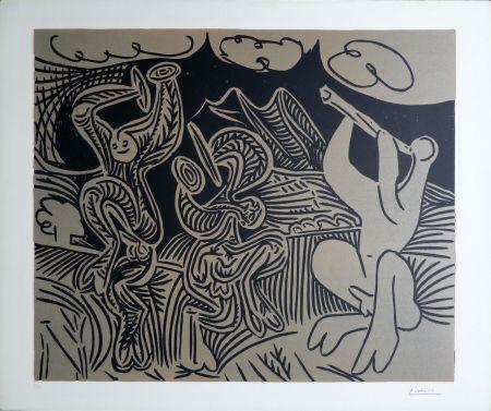Linocut Picasso - BACCHANALE: Flutiste et danseurs aux cymbales