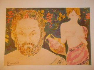 Lithograph Bonnefoit - Bacchus et Aphrodite