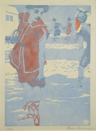 Woodcut Neumann - Badefreuden (Bathing Fun)