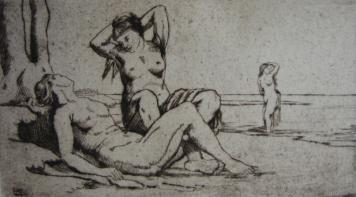 Etching Wilm - Badende Frauen / Bathing Women