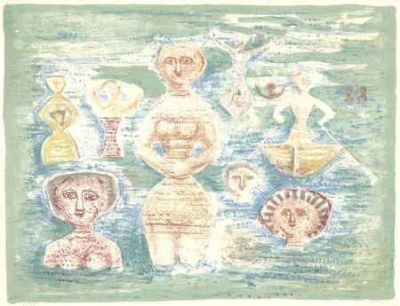 Lithograph Campigli - Bagnati