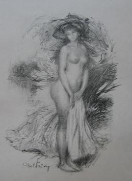 Lithograph Faivre - Baigneuse