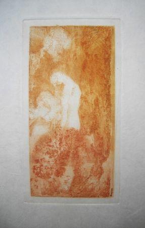 Engraving Redon - Baigneuse