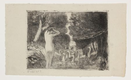 Etching And Aquatint Pissarro - Baigneuse aux Oies