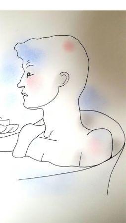 Lithograph Cocteau - Bain