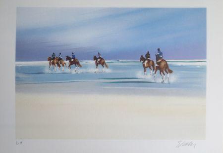 Lithograph Spahn - Balade sur la plage