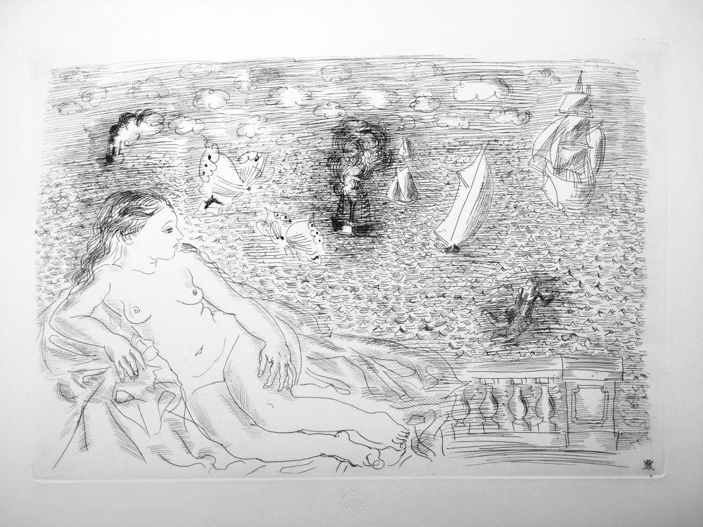 Engraving Dufy - BALCON SUR LA MER (Baigneuse aux Papillons). 1925