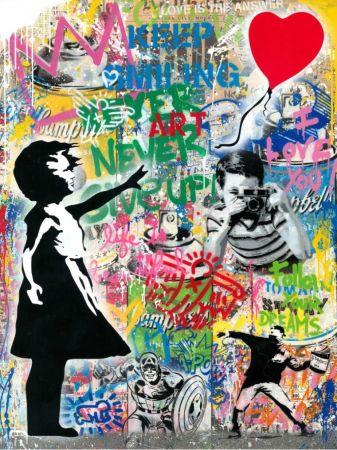 No Technical Mr. Brainwash - Balloon Girl - Banksy Record - Unique Mixed Media Stencil