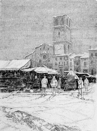 Engraving Cotugno  - Bancarelle al mercato a Lodi