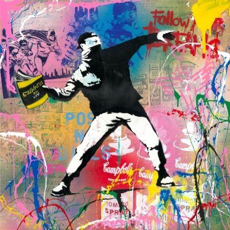 Screenprint Mr Brainwash - Banksy Thrower, 2015