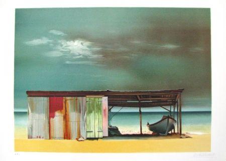Lithograph Battut - Baraque sur la plage