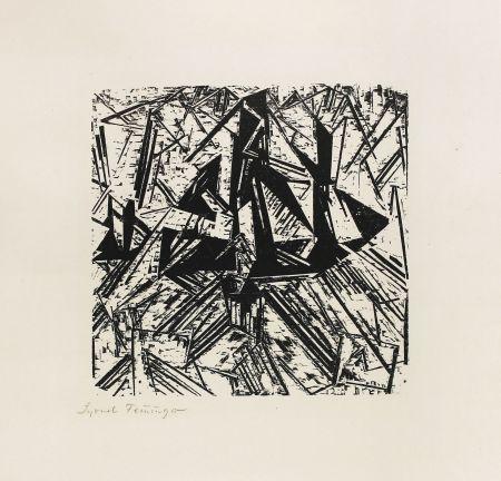 Woodcut Feininger - Barke Und Brigg Auf See (Segler)