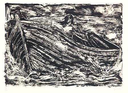 Lithograph Barcelo - Barque