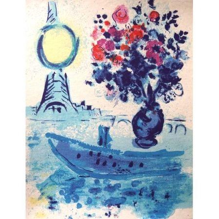Lithograph Chagall - Bateau Mouche au bouquet