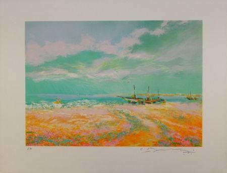 Lithograph Manoukian - Bateaux à voile / Sailboats