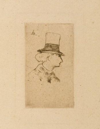 Engraving Manet - Baudelaire de profile en chapeau II
