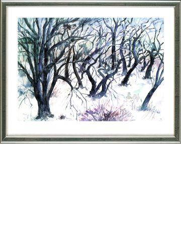 Lithograph Grass - Baumlandschaft  Winter