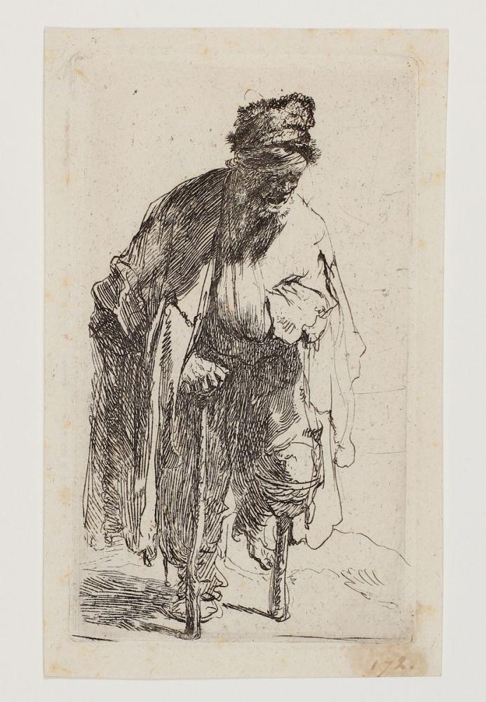 Etching Rembrandt - Beggar with a wooden Leg