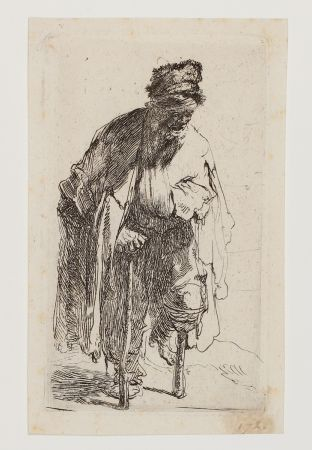 Etching Rembrandt - Beggar with a wooden Leg