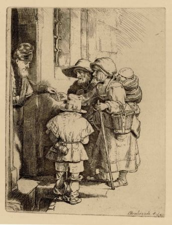 Etching Rembrandt - Beggars Receiving Alms at the Door of a House