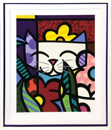 Screenprint Britto - BEHIND THE FLOWERS