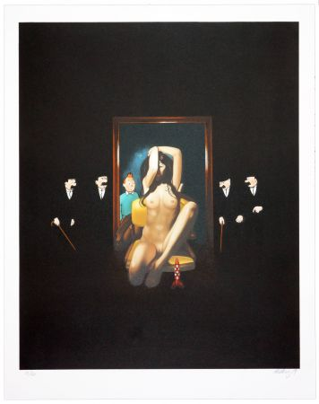 Lithograph Ahlberg - Behind the mirror