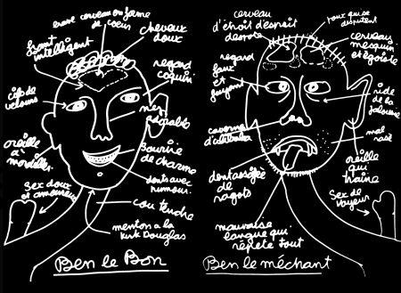 Screenprint Vautier - '' Ben Le Bon, Ben le Méchant ''