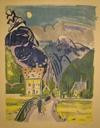 Lithograph Wiegers  - Bergdorf bei Davos