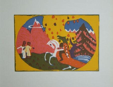 Woodcut Kandinsky - Berge - Klänge, edition Pieper, 1913